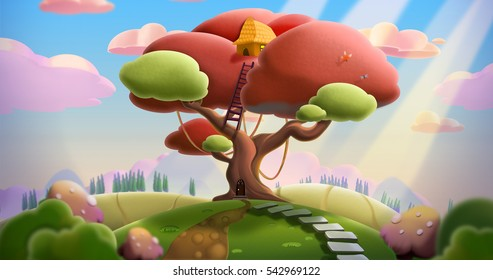 Tree House on The Hill. Video Game's Digital CG Artwork, Concept Illustration, Realistic Cartoon Style Background