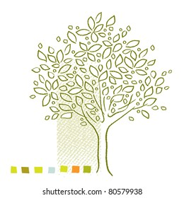 Tree icon - simple linear drawing  (raster version)
