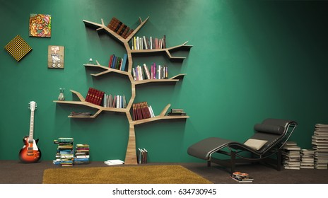 Tree of knowledge bookshelf; 3d illustration