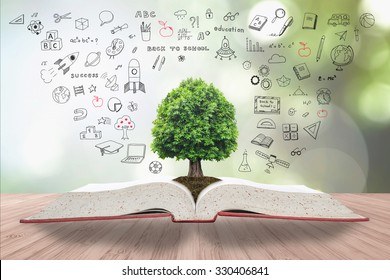 Tree of knowledge on book for sustainable education and environment concept