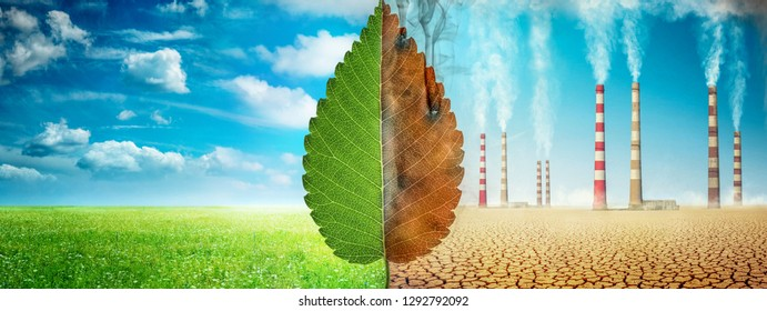 A tree leaf on a background of grass and clouds versus a withered leaf on a background of a dead desert with Smoking chimneys of industrial enterprises. Concept on ecology, Earth day, science etc.