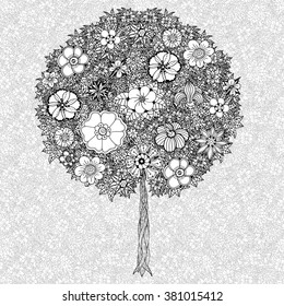 Tree with leaves and flowers. Art. Coloring book page for adults. Hand drawn. Bohemia concept for wedding invitation, card, ticket, branding, logo, label. Black and white