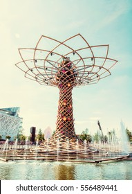 Tree of life at exhibition Expo Milano 2015, Italy. The masterpiece to the world. Artistic object. Retro photo filter.