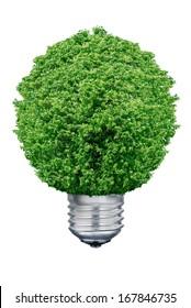 Tree Light bulb isolated on white background.