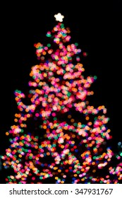 Tree lights blurred