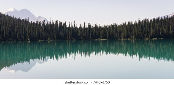 Tree line reflects in Emerald Lake at Yoho National Park, BC, CA