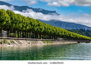 The tree lined Boulevard Du Lac at the Grand Port in the town of Aix les Bains in the Auvergne-Rhone-Alpes region in France. On the eastern shore of Lake Bourget (Lac du Bourget or Lac d Aix).