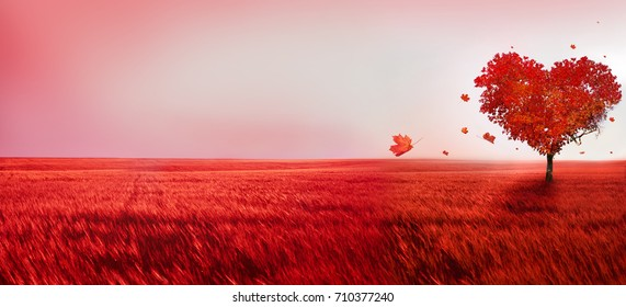Tree of love. Red heart shaped tree at sunset. Beautiful landscape with red tree and falling leaves.Love background