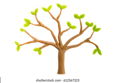Tree made from Plasticine isolated on white background. Ecology concept.