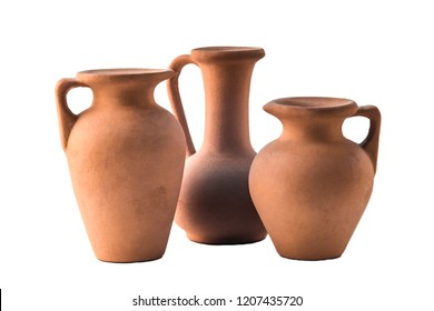 Tree old clay pots jars vases for holding drink in village country style isolated on white