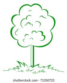 Tree on a green grassy meadow. Symbolical summer image