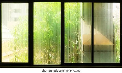 Tree outside window glass etching.
