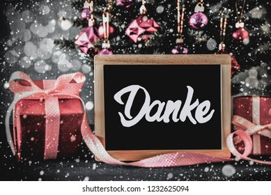 Tree, Presents, Calligraphy Danke Means Thank You