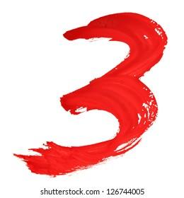 Tree - Red handwritten numerals over white background