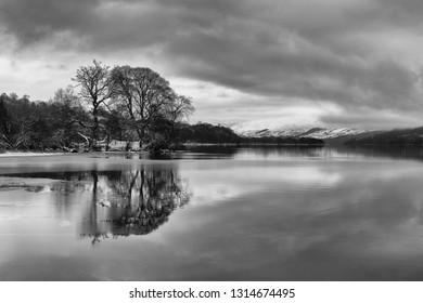 Tree Reflections in Loch Tai, Killin, Scotland. Black and white photography.