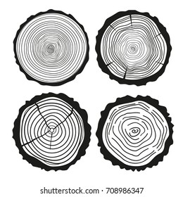 Tree rings. Set of cross section of the tree with abstract patterns on isolation background. Conceptual graphics. Black and white illustration for coloring. Print for polygraphy, t-shirts and textiles