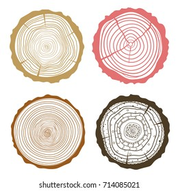 Tree rings. Set of cross section of the tree. Set of tree rings on isolation background. Conceptual graphics. Line art
