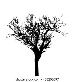 Tree Silhouette Isolated on White Backgorund. Vecrtor Illustration.