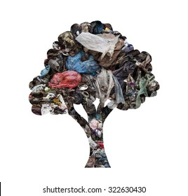 Tree silhouette made of municipal waste as concept for environmental pollution