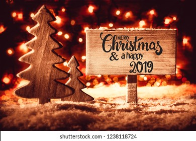 Tree, Snow, Calligraphy Merry Christmas And A Happy 2019, Snowflakes