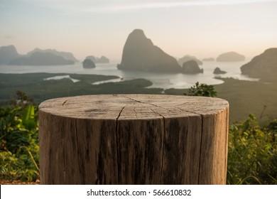 tree stump Chair with Sa-met-nang-she mountain views landmark in Phang nga ,Thailand.
