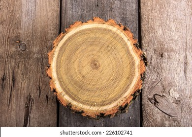 Tree stump round cut with annual rings on wooden background from top view
