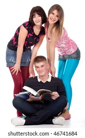 Tree teenage students over a white background
