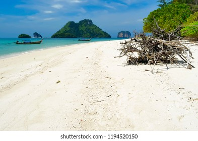 Tree trunks on the beach of Koh Poda with Koh Tup, Koh Mor and Koh Kai in the background, in the Ao Nang bay, Thailand