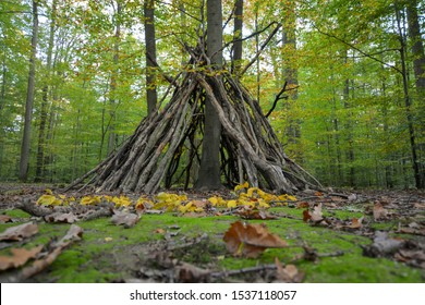 treehouse / tent - a tipi made by children in the autumn forest