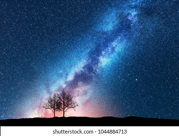 Trees against starry sky with Milky Way. Space background. Night landscape with alone trees on the hill and colorful bright milky way. Amazing galaxy. Nature. Beautiful scene with universe. Concept
