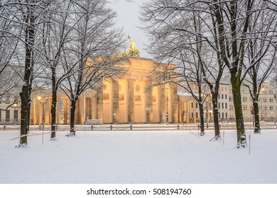 Trees of Berlin Tiergarten and illuminated Brandenburg gate (Brandenburger Tor) in snow, Berlin, Germany, Europe