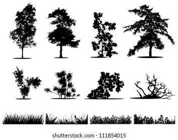 Trees, bushes and grass silhouettes collection
