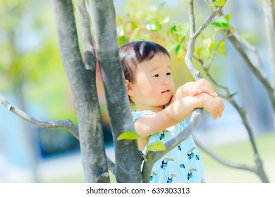 trees and cute kids