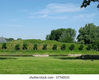 Trees at the fortification of Hellevoetsluis in the Netherlands