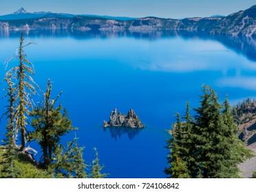 Trees Frame Phantom Ship Island in Crater Lake