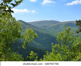 Trees frame the view of the mountains as one ascends Old Rag at Shenandoah National Park