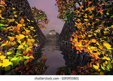 Trees in the Gorge, 3D rendering, an autumn landscape, snowy mountain in the background and reflection on the river.