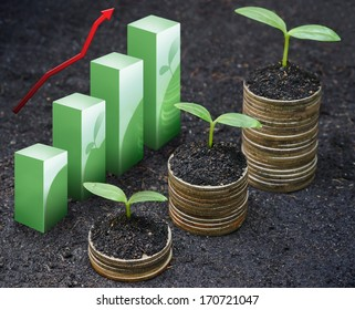 trees growing on coins / csr / sustainable development / economic growth / trees growing on stack of coins