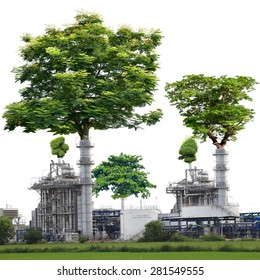 Trees larger crater power plants isolated on white background with clipping path. The Concept of Stop polluting emissions into the atmosphere to create a green and shady trees in the world.