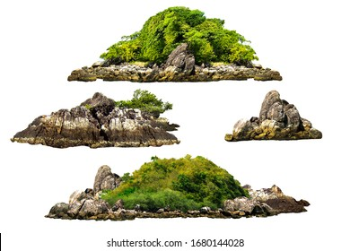 The trees. Mountain on the island and rocks.Isolated on White background