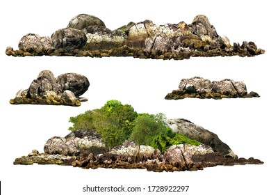 The trees. Mountain on the island and rocks.Isolated on White background.Used in the design of advertising media, architecture - Shutterstock ID 1728922297