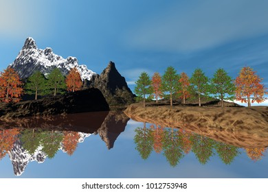 Trees next to the lake, 3D rendering, an autumn landscape, reflection on water, a snowy mountain and a blue sky.