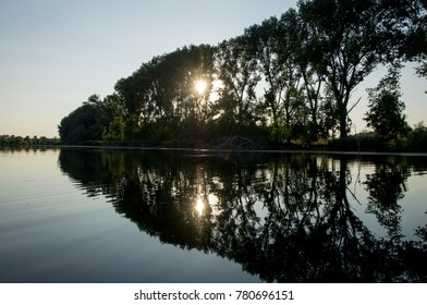 Trees on the shore are reflected on the surface. The sun is making its way to the lake through the branches. Cod and dry branches the right border the coast and water. Novi život je na horizontu.