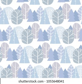 Trees seamless pattern background. For botanical, modern backgrounds, fabric, scrapbooking, packaging, invitations.