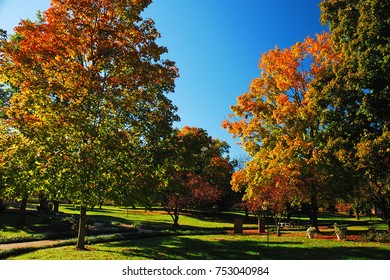 Trees show off their autumn best at My Old Kentucky Home State park in Bardtown, Kentucky