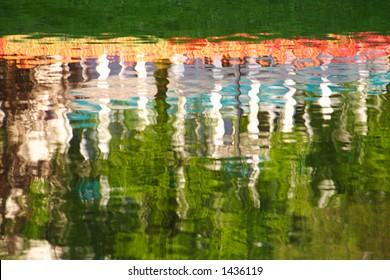 Trees and tulips reflection in the water