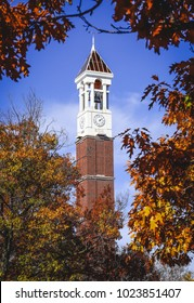 The trees vignette Purdue University's iconic Bell tower during the fall season.