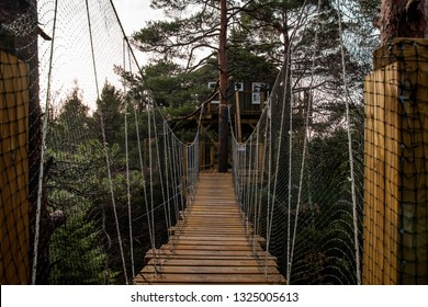 Treetop wooden cabin with a bridge in the middle of the forest in a cloudy day with a moody feeling as meaning of a glamping