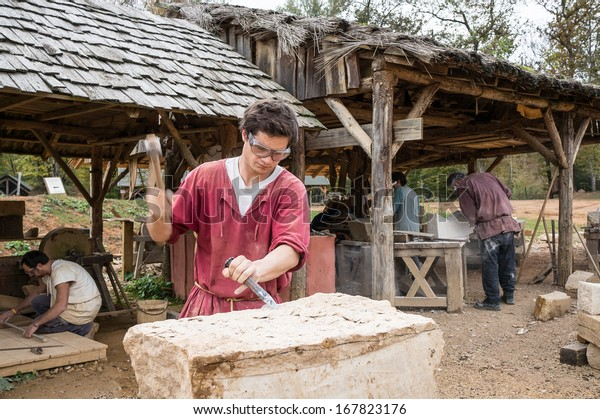 Treigny France October 21 Stonemason Medieval Stock Photo (Edit Now