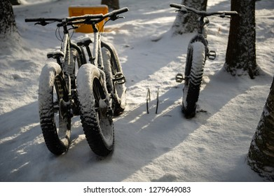 Trek bikes covered with snow near a cottage in Muskoka, Ontario Canada. The Fat bikes are ideal for biking along the trails covered in snow.